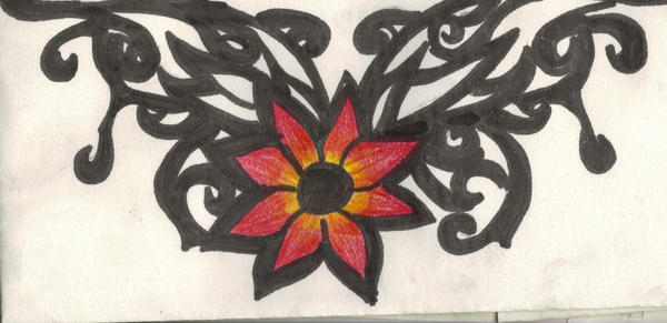Flower Tribal Tattoo - flower tattoo