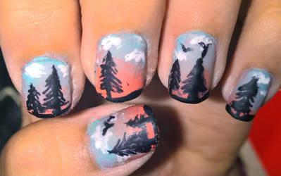 matte tree sunset nail art by ta11y16lupus