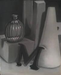 monochromatic still life painting by ta11y16lupus