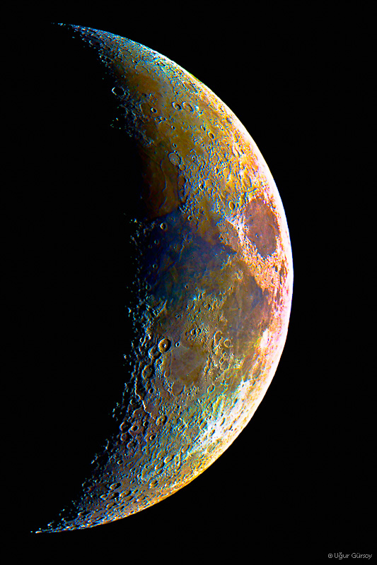 Colorized Waxing Crescent by Rapierr