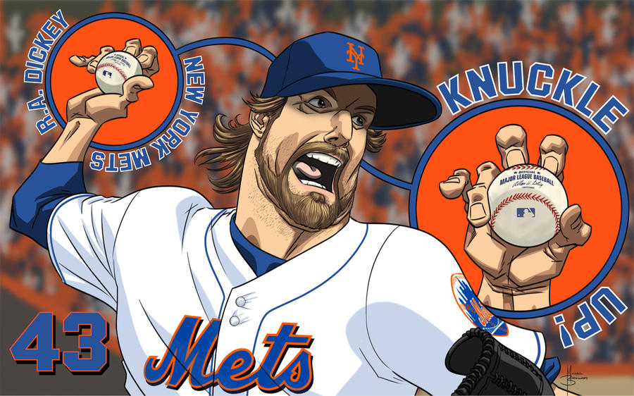Mets Pitcher RA Dickey by MBorkowski