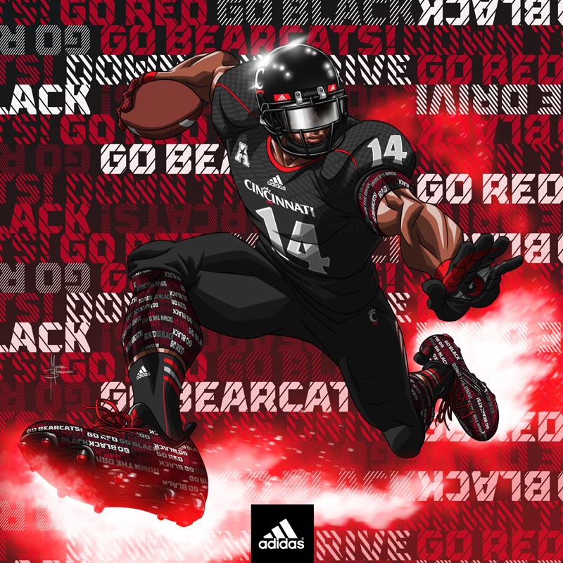 adidas Football Art- Cincinnati Bearcats by MBorkowski