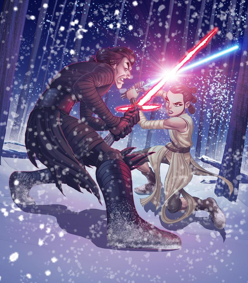 Kylo Ren vs. Rey by MBorkowski
