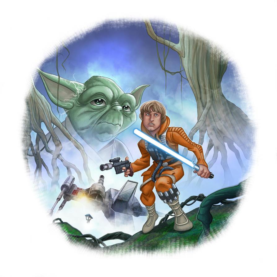 Luke on Dagobah in search of Yoda by MBorkowski