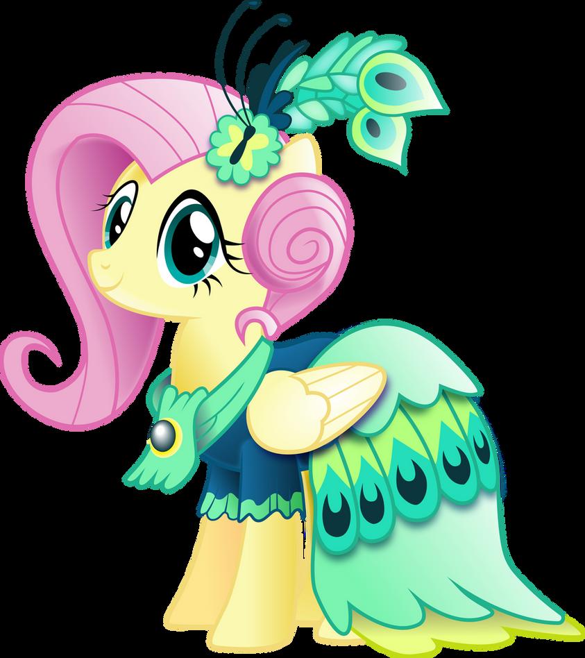 Fluttershy in Gala Dress (With Shading) by InfiniteWarlock