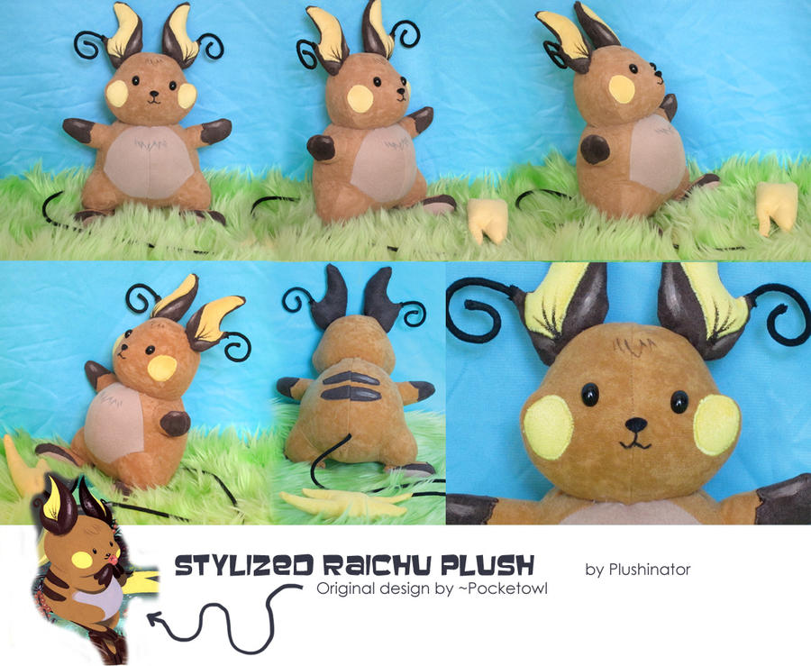 Stylized Raichu Plush by GrowlyLobita