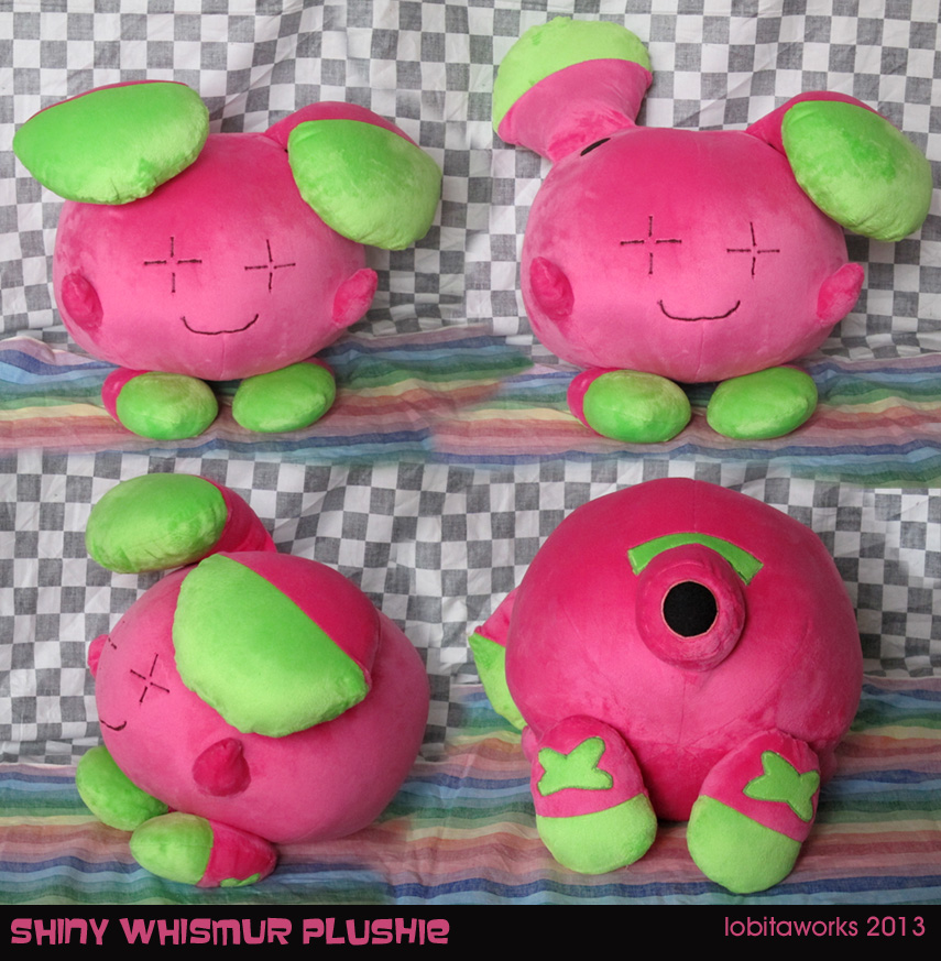Shiny Whismur Plushie by GrowlyLobita