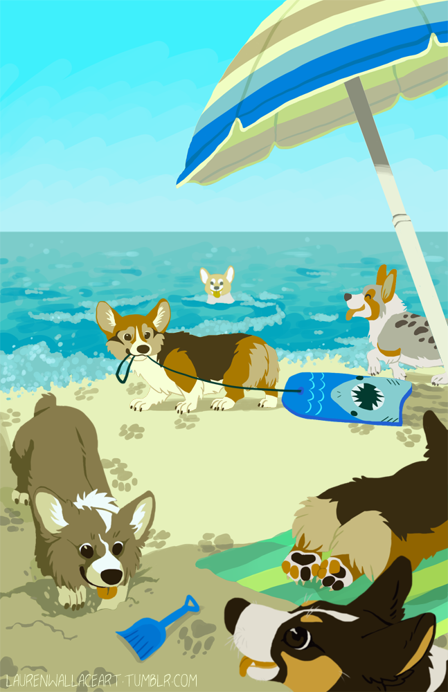 Corgi Beach by GrowlyLobita