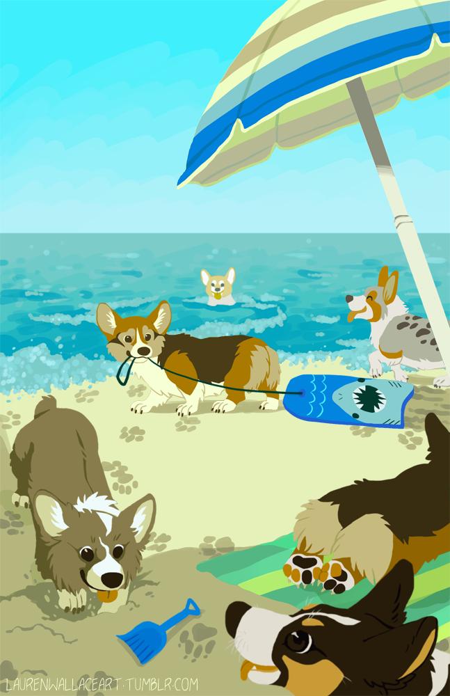 Corgi Beach by GrowlyLobita