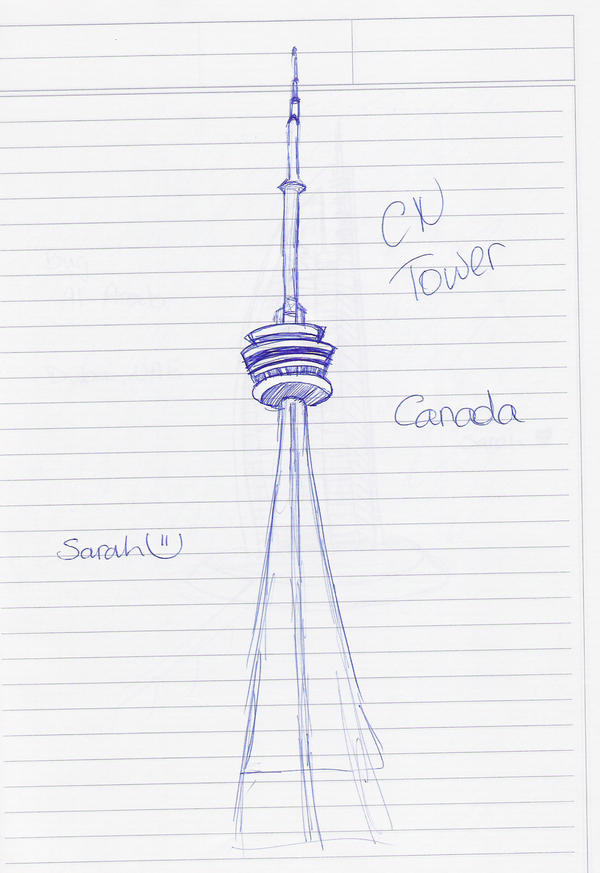 how to draw cn tower easy