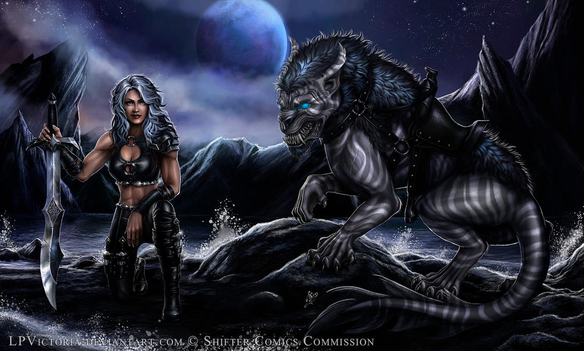 Hunter Girl and her beast - Commission by LPVictoria