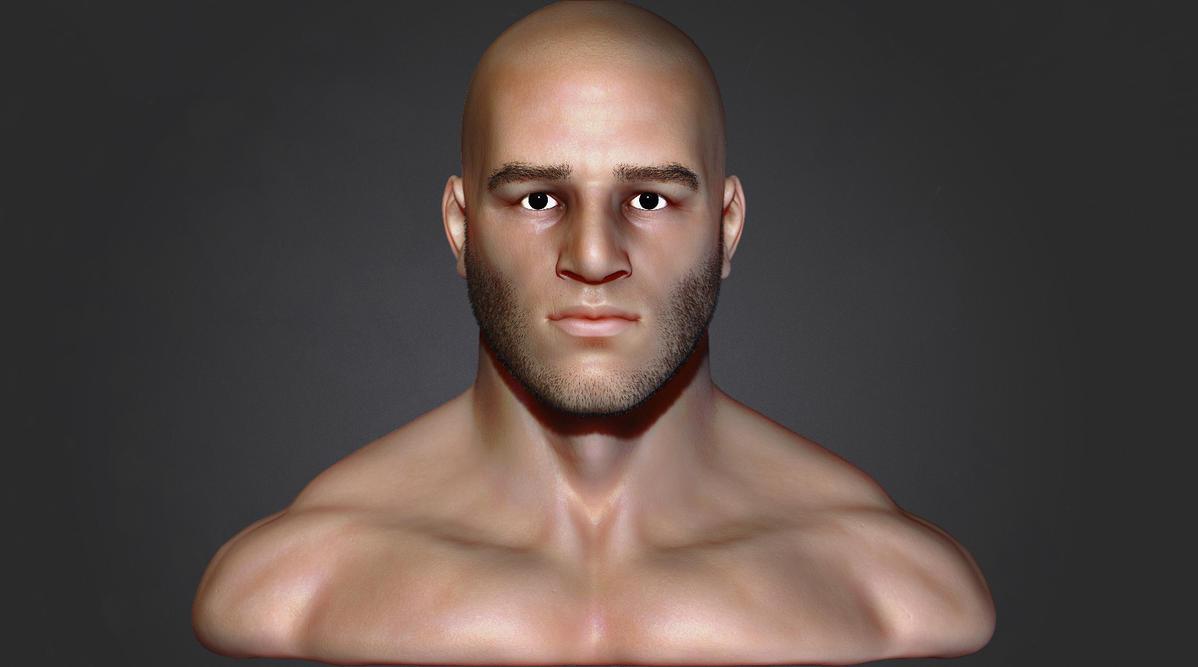 Human male bust by iskander71