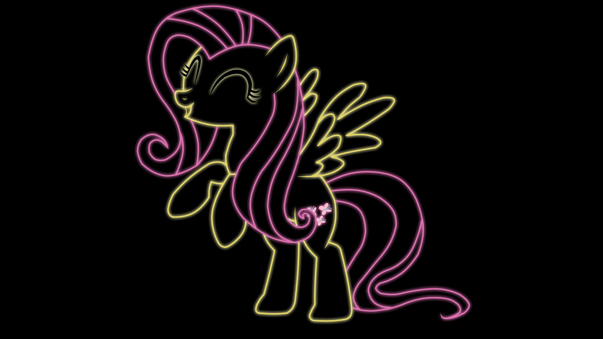 Neon Fluttershy by rharzar
