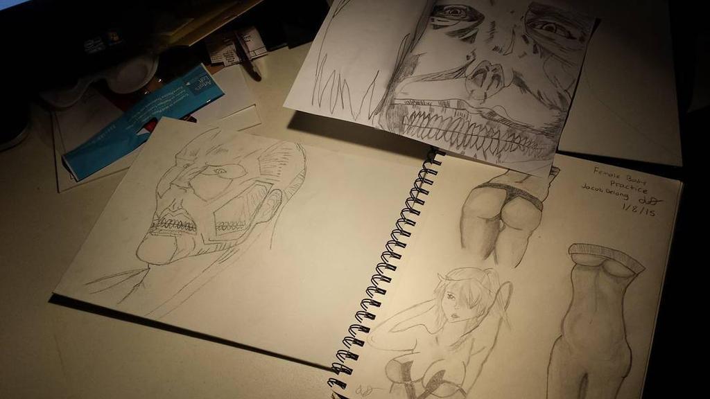 Attack on Titan Colossal Titan Sketch+SmilingTitan by TheObcobi
