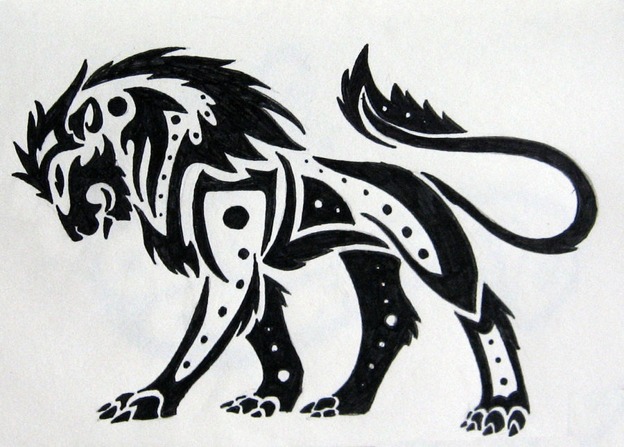 Tribal Lion by silveraquila