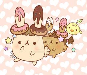 Bunnut and peepleaf (Donut bunnies) by Tokyo-Dollie