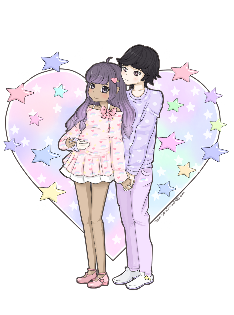 Commission: Pastel Cute Couple