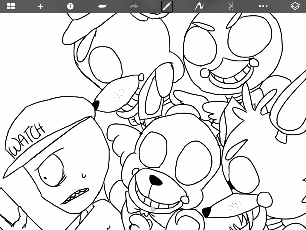 Coloring Golden Nights Freddy Freddys At Five Sketch