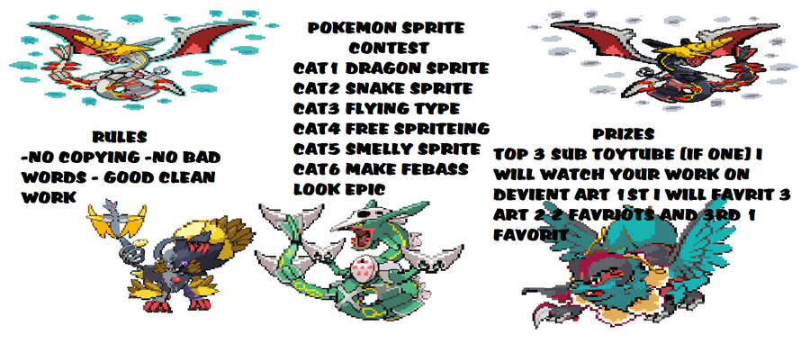 Pokemon Sprite Contest (closed) By Lizardgirl2000 On