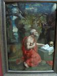 Saint Peter reading to skull