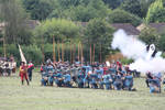 royalist infantry prepping for volley fire