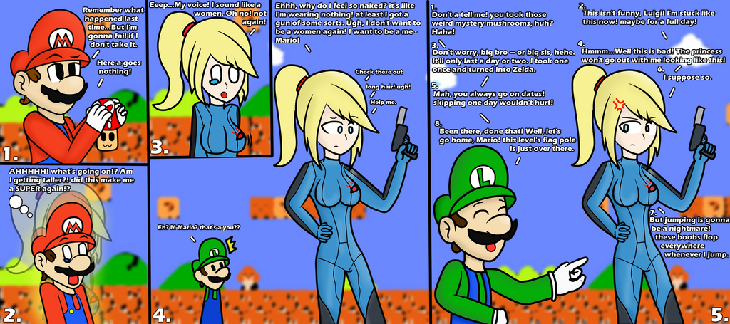 Mario's problem with mystery mushrooms : Samus by Kyon000