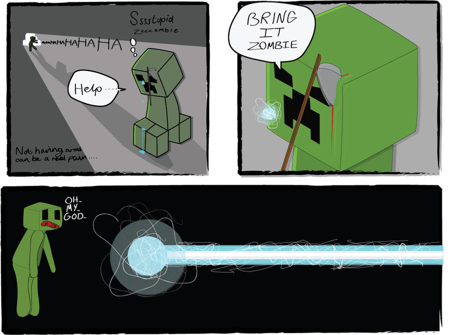 minecraft comic 4 zombie vs creeper by ibetheartyspoon