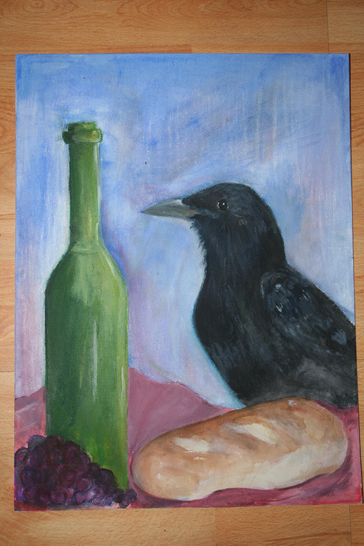 Bread, wine and bird by Cpt-Marshmallow