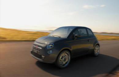 Fiat 500 in motion