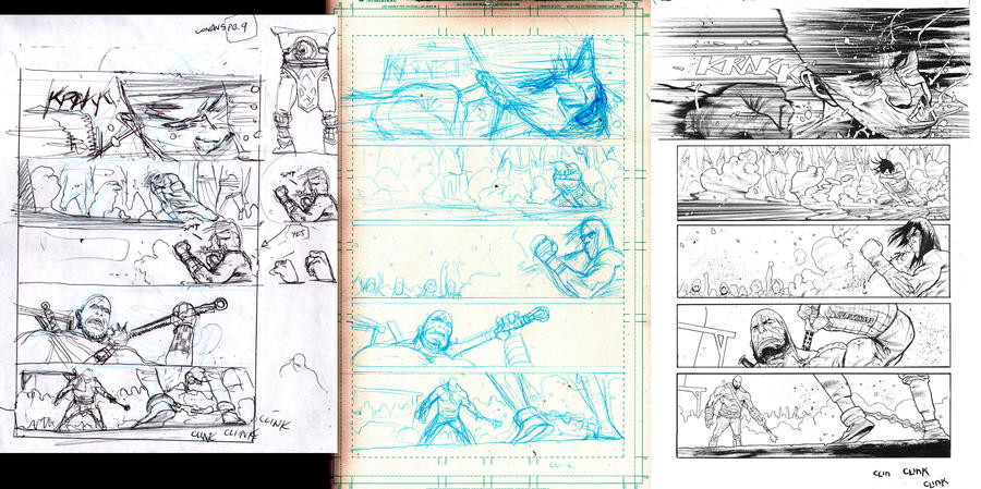 Conan issue 5 page 9 process by JHarren