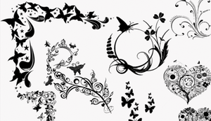 GIMP Hearts and Butterflies Brushes