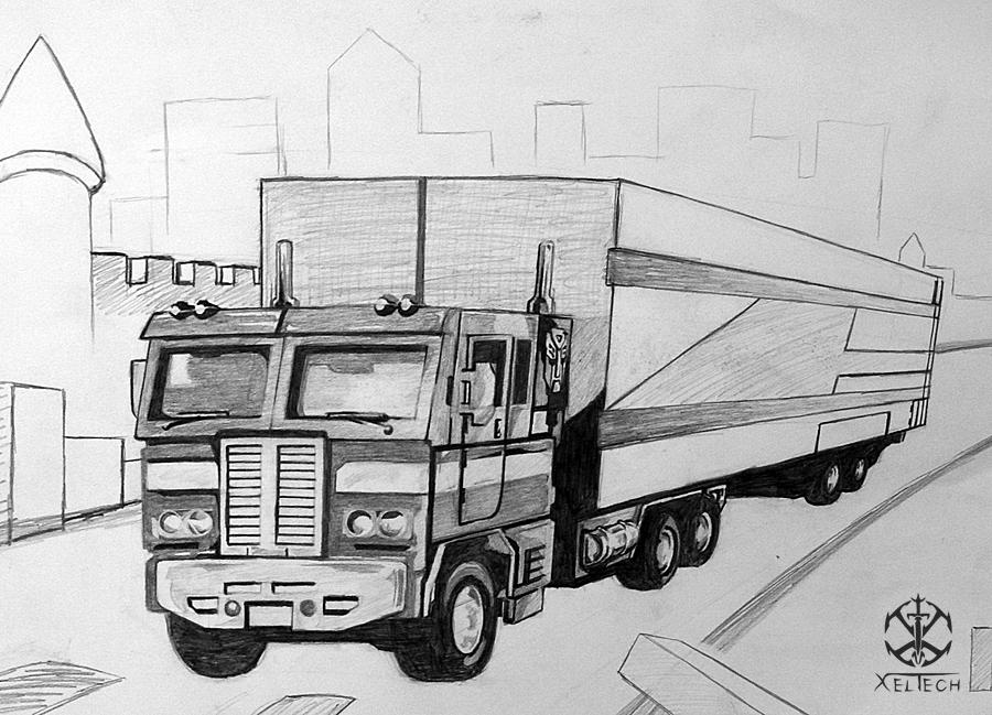 Optimus Prime Truck Sketch by xeltecon on DeviantArt