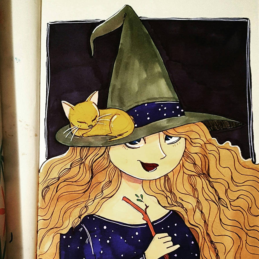 Witchling and her Sleeping Kitten by AniseShaw