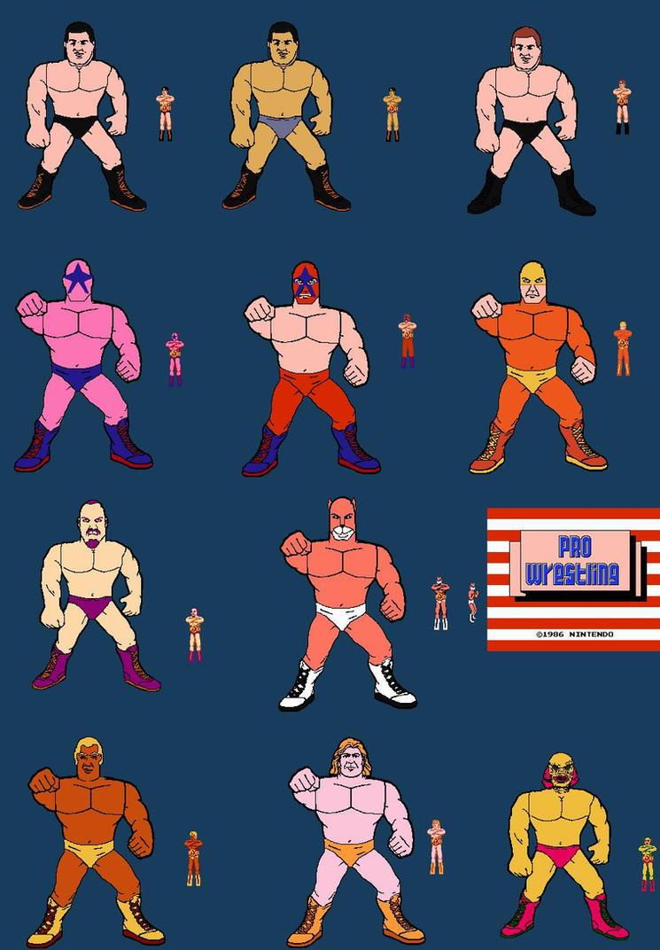 Pro Wrestling wrestlers line art (1) by mekio82