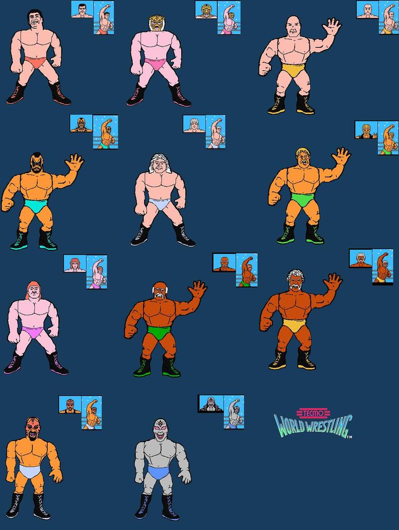 Tecmo World Wrestling Figure Lineart by mekio82