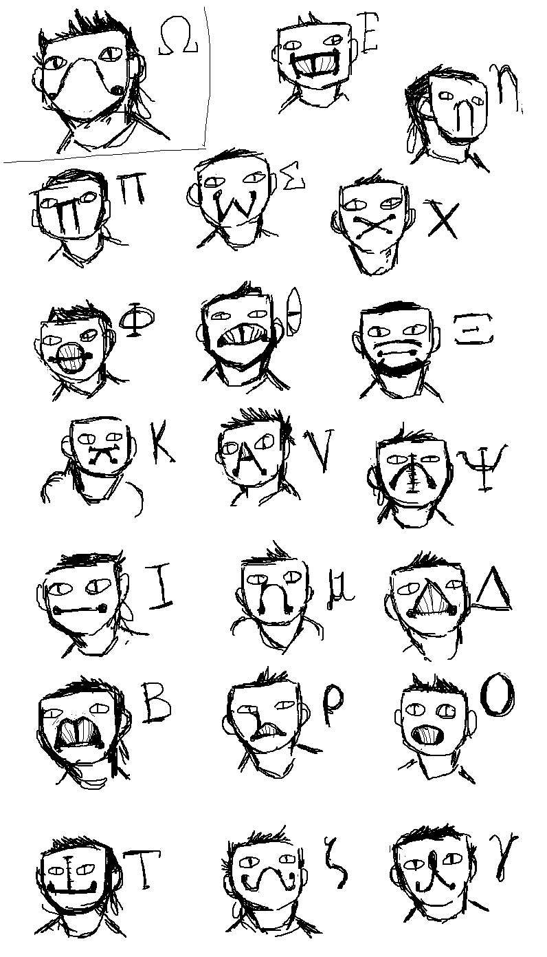 zacharie and masks based off of greek letters by