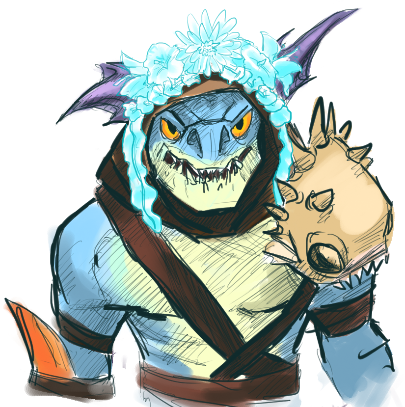 slark unwillingly wearing a flower crown by foxwolf333 on deviantart
