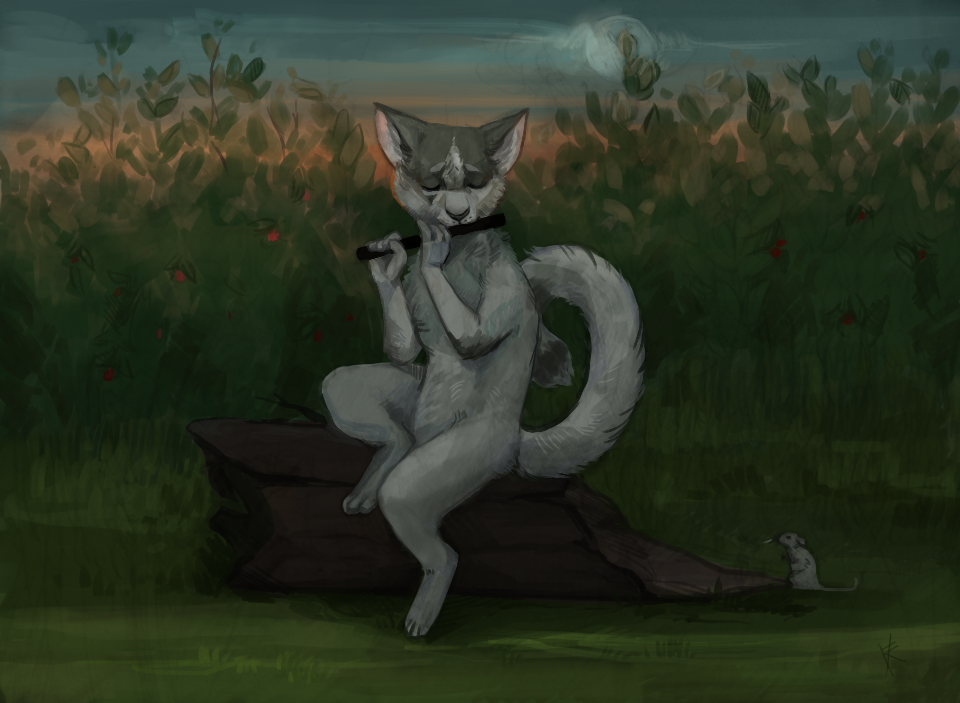cat and flute by FalkaNairero