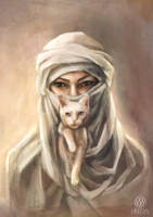 Portrait of arabic woman with cat