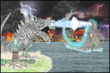 Godzilla 2014 vs. Mechagodzilla (Ready Player One) by WoodZilla200