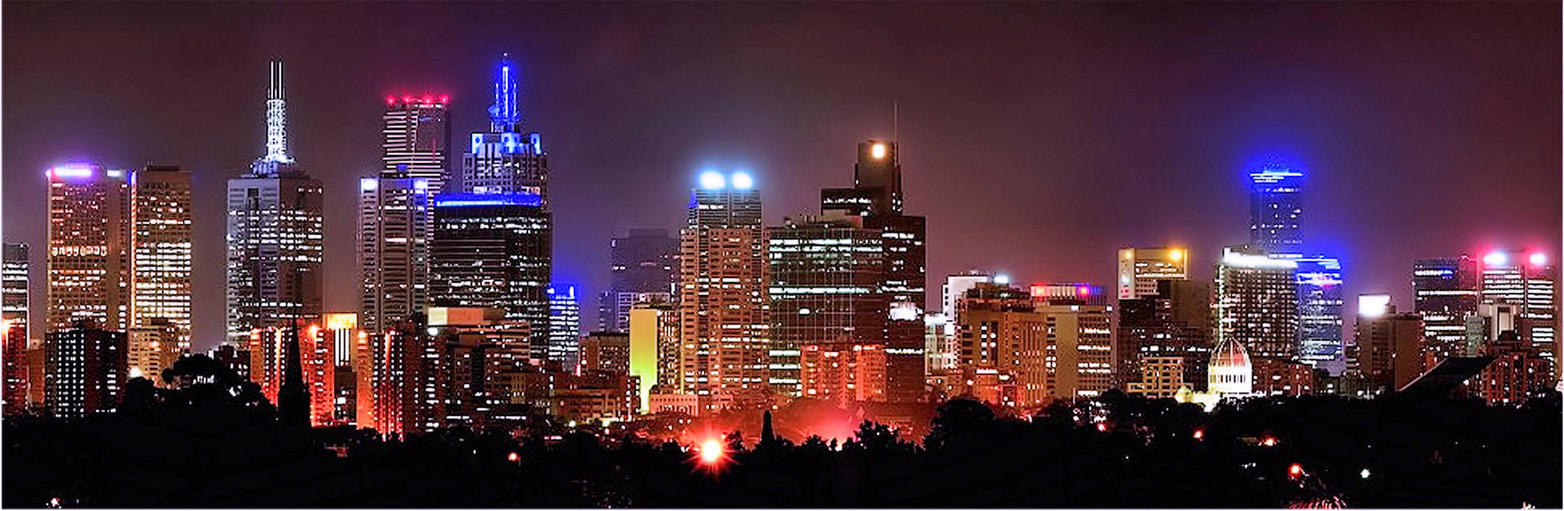 Melbourne Night skyline  Panorama by Ven3215