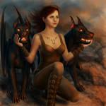 Felicity Jones with Hellhounds