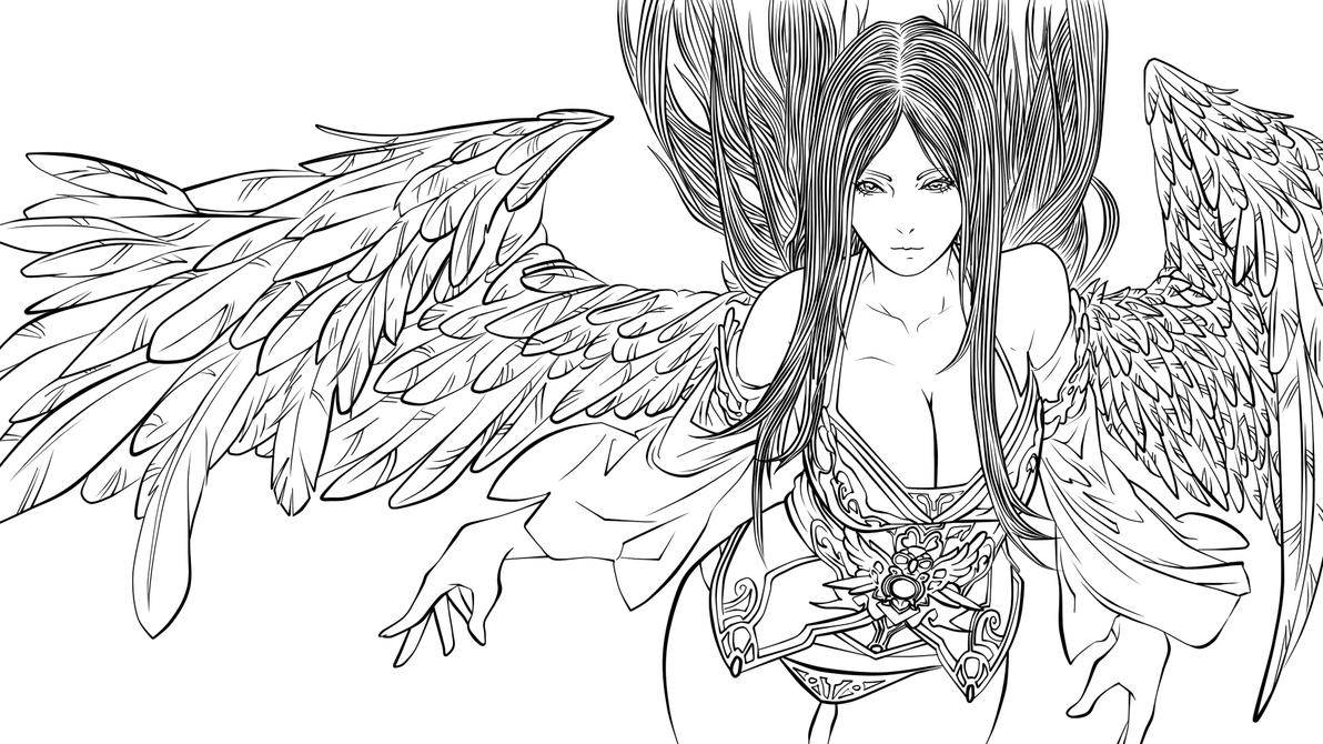 Line Art Angel : Fallenangel lineart done by someone stupid on deviantart
