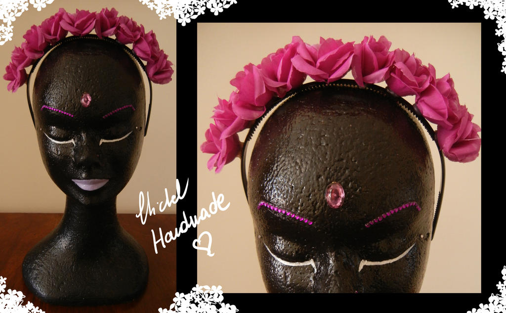 Fuchsia Roses Hairband by Bi-BiMichel