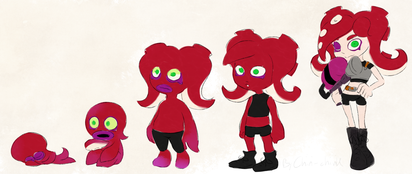 Splatoon Octolings Grow Up Progression By Chivi Chivik On