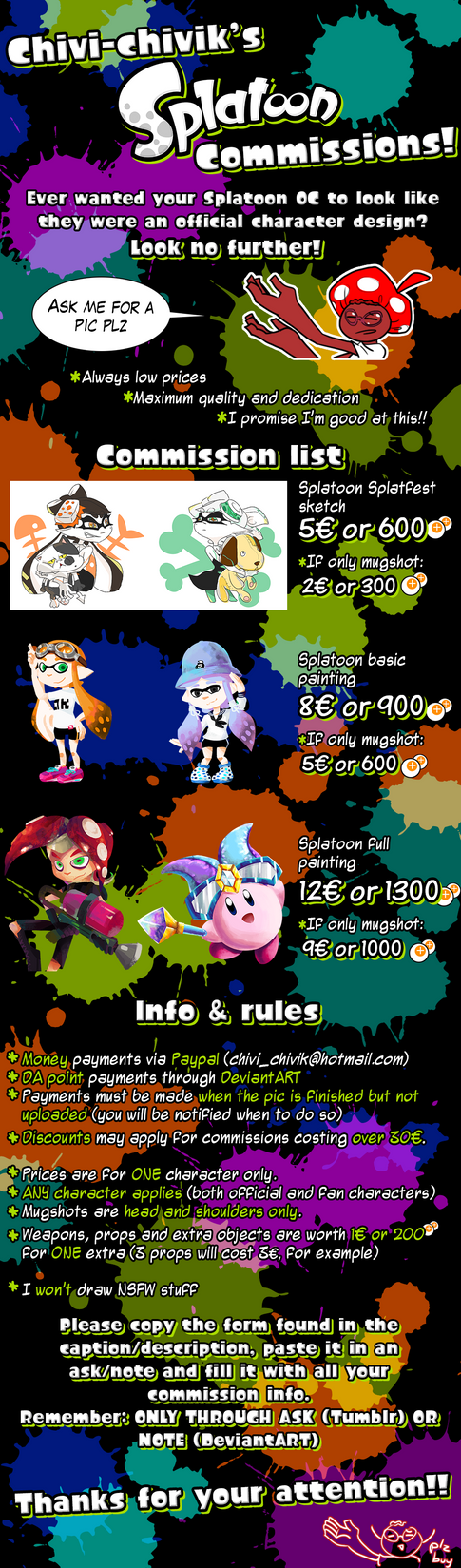 Chivi's Commission sheet: Splatoon style! by Chivi-chivik