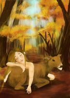 A Story Of A Girl And A Deer by sofie-arts