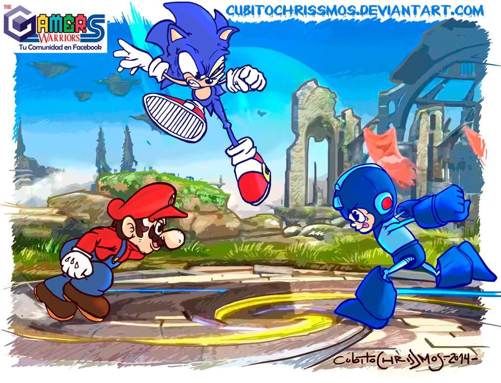 Super Smash Bros 4  Mario Vs Sonic Vs Megaman by CubitoChrisSMos
