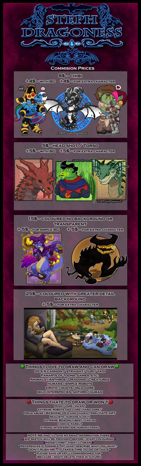 Commission prices PAYPAL / POINTS by StephDragonness