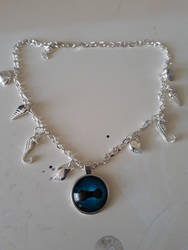 Jewellery: Blue Octopus eye - white silver chain by StephDragonness